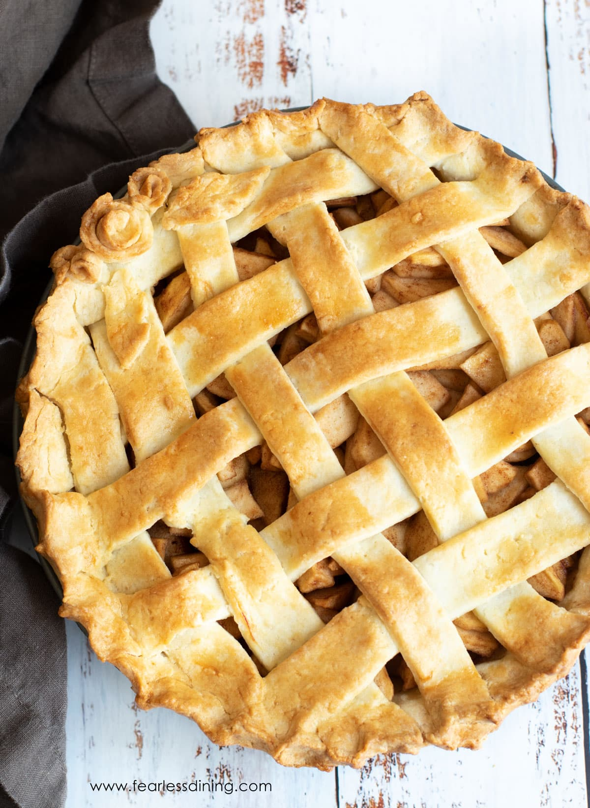 a gluten free apple pie with a lattice crust