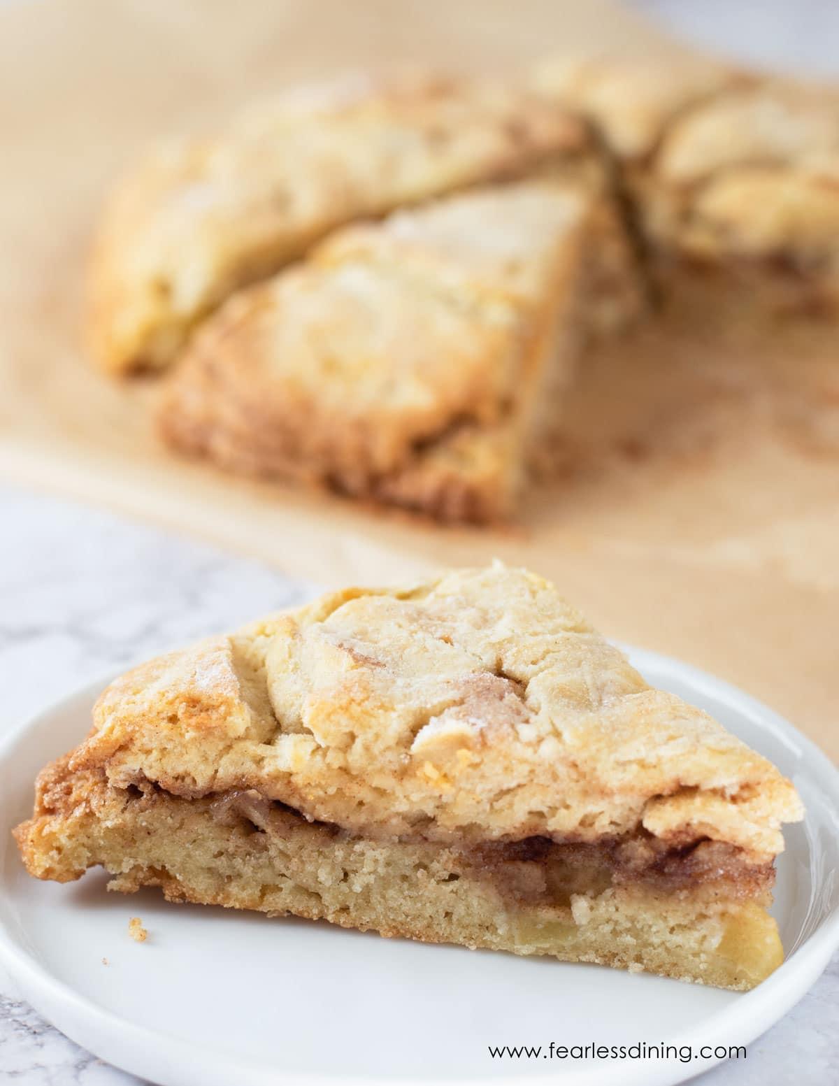 a gluten free cinnamon apple scone on a plate