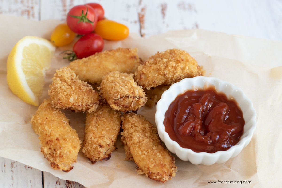 a tray of gluten free fish sticks
