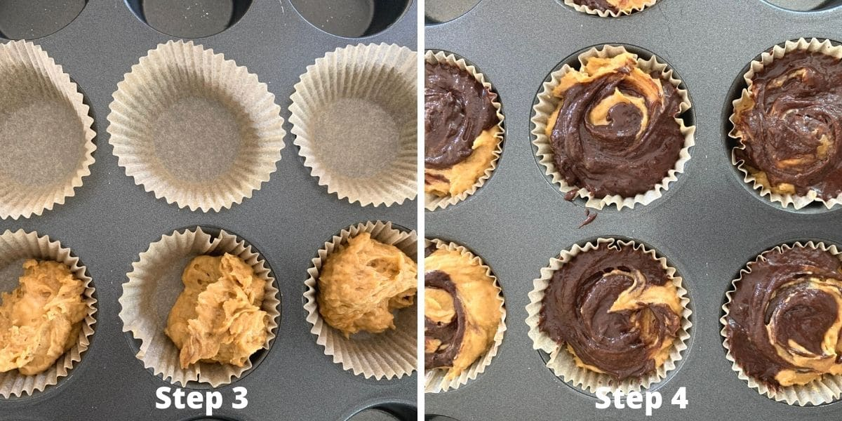 photos of steps 3 and 4 making muffins