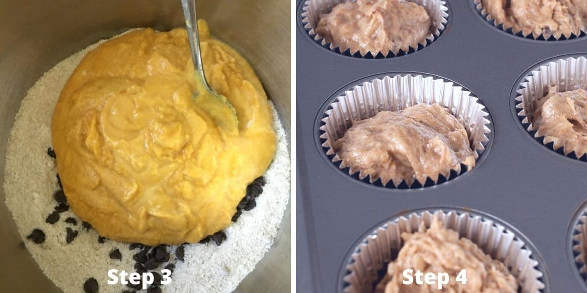 making pumpkin muffins photos of steps 3 and 4