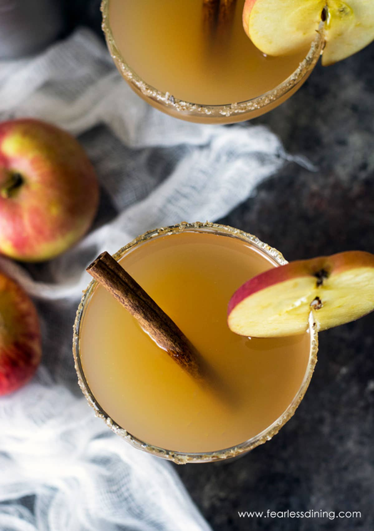 the top view of two apple rum cocktails