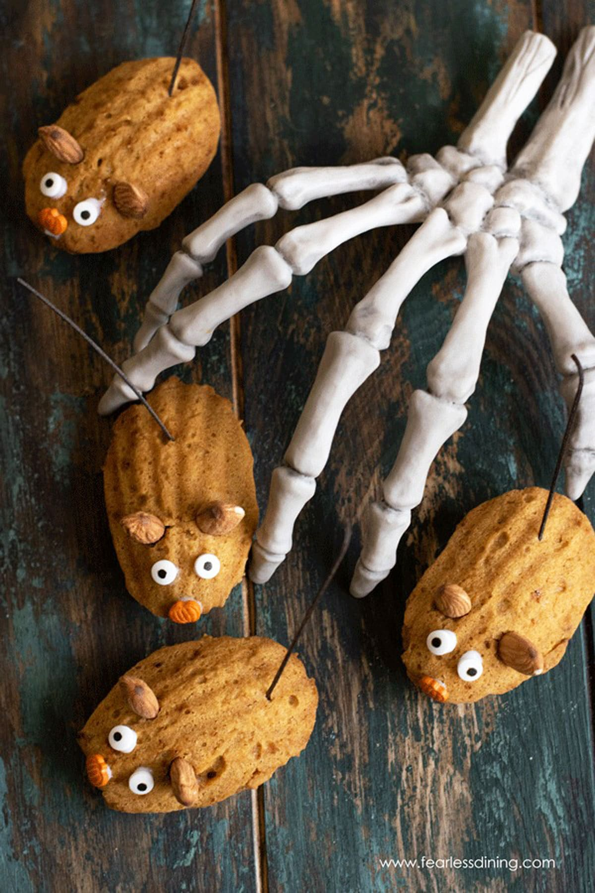 pumpkin madeleines decorated as Halloween mice