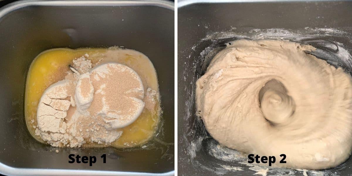 Making gluten free babka photos of steps 1 and 2