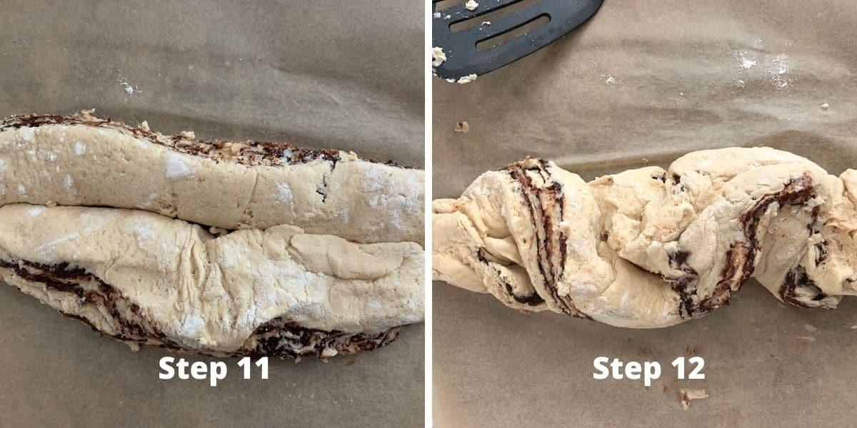 photos of steps 11 and 12 making babka