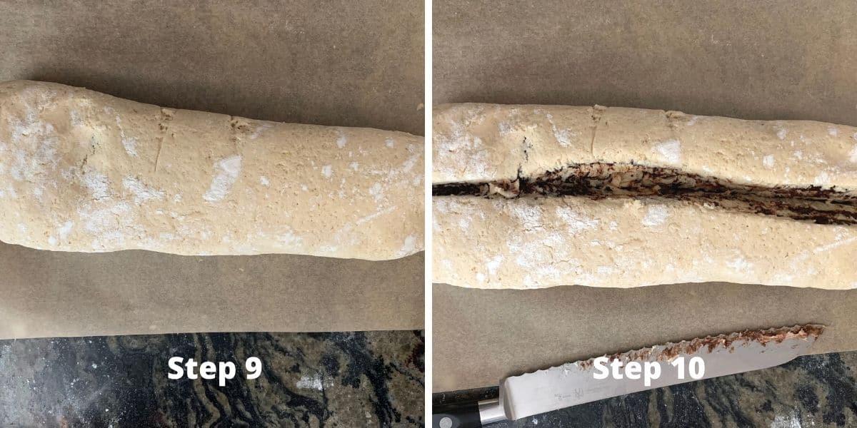 photos of steps 9 and 10 making babka