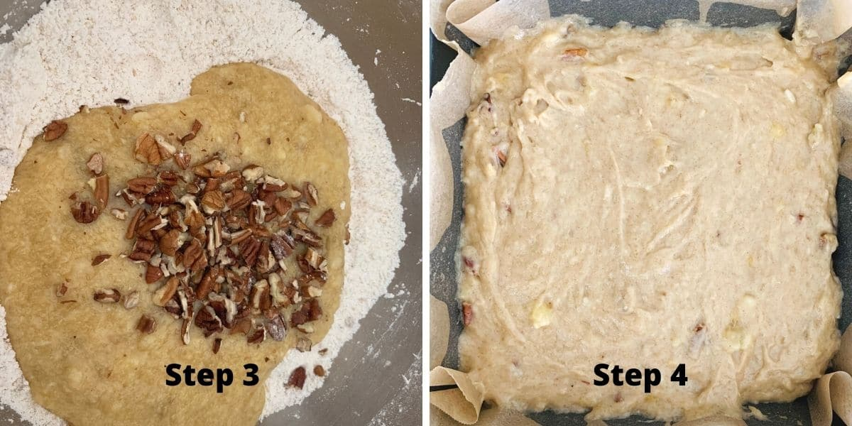 photos of steps 3 and 4 making the gluten free banana cake