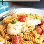 pinterest pin of the chicken feta pasta