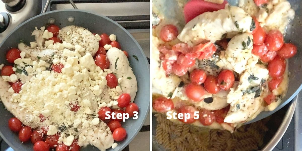 photos of steps 3 and 5 making the chicken pasta