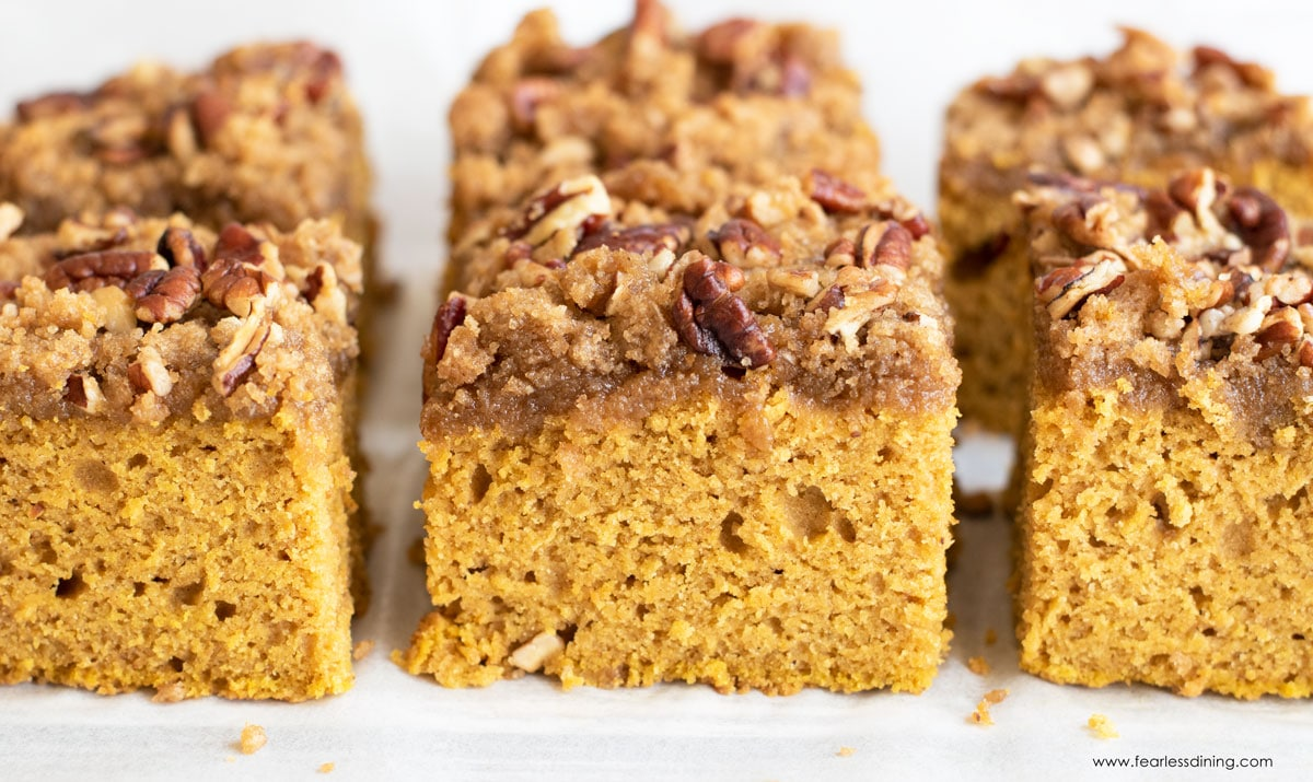slices of pumpkin coffee cake in rows