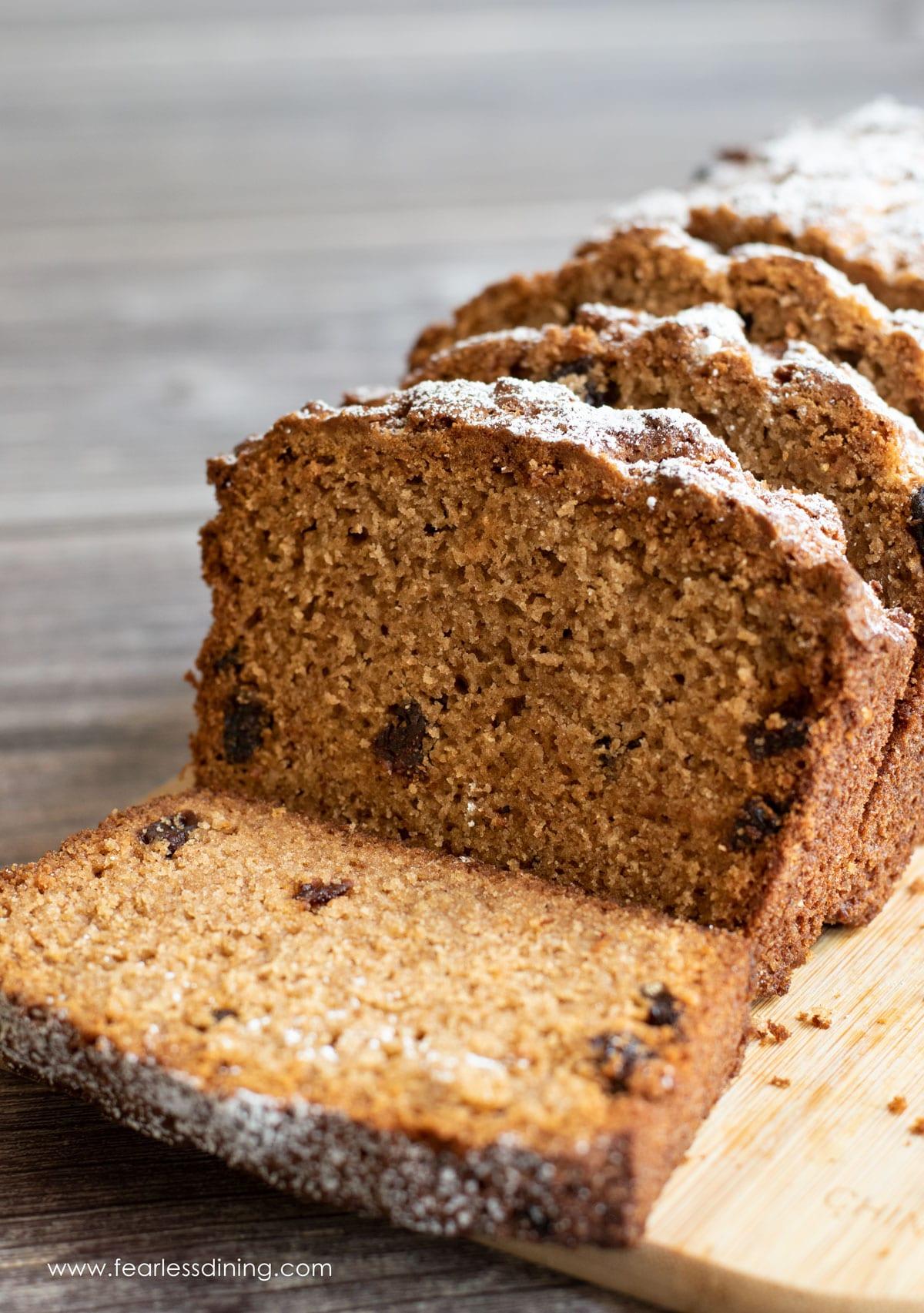a sliced loaf of spice cake
