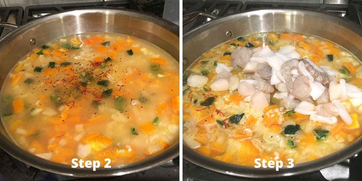 photos of making paella steps 2 and 3