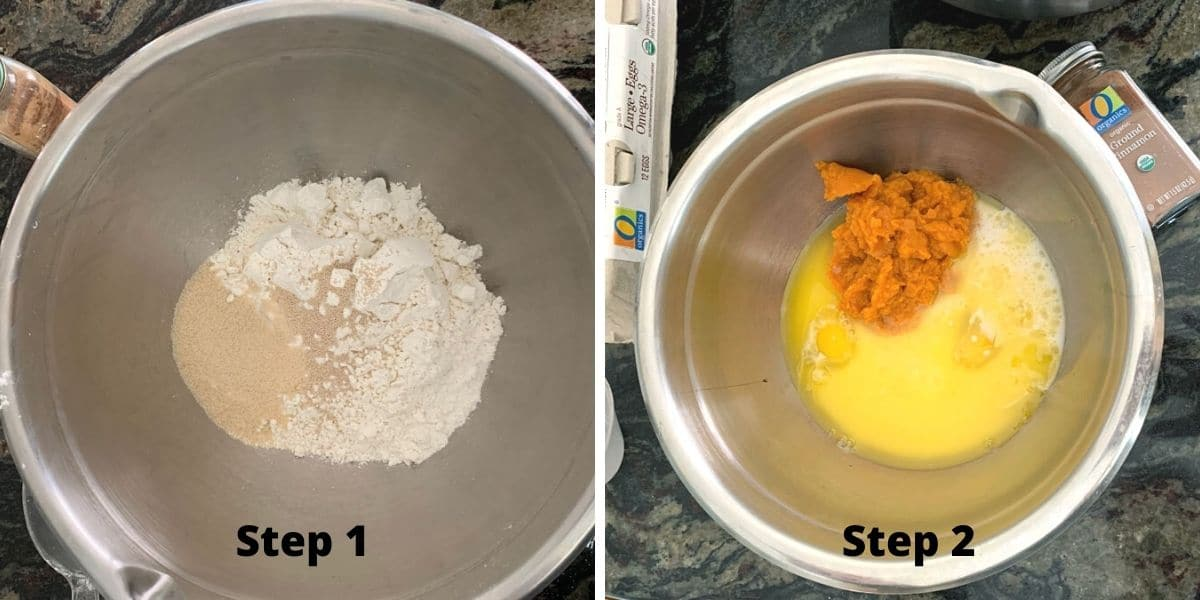 photos of making the pumpkin coffee cake steps 1 and 2