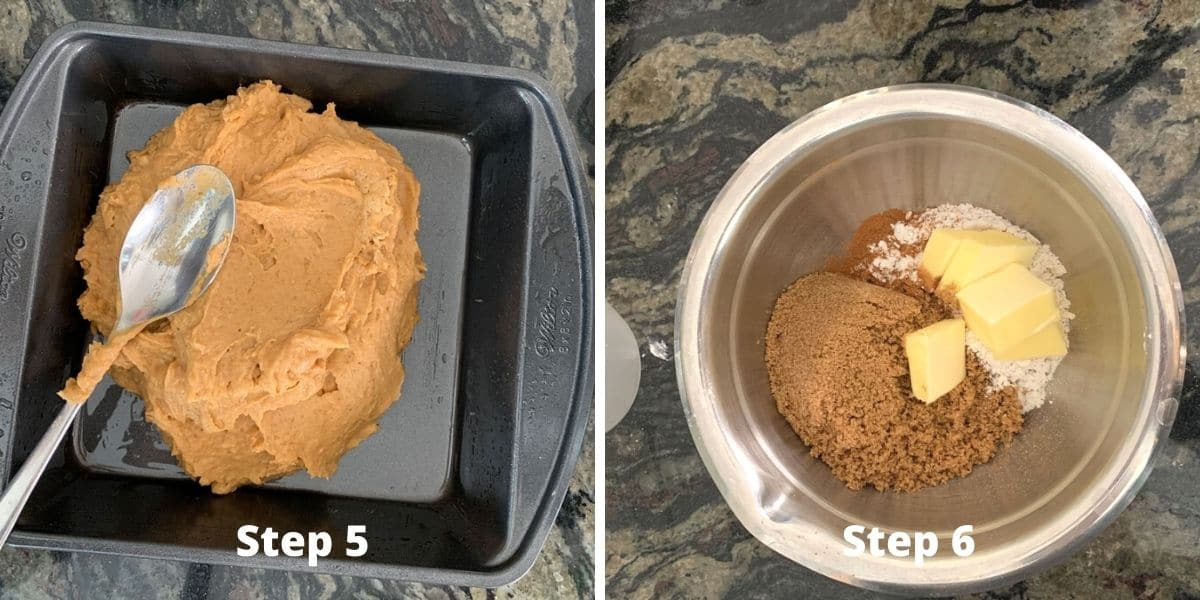 photos of making the pumpkin coffee cake steps 5 and 6