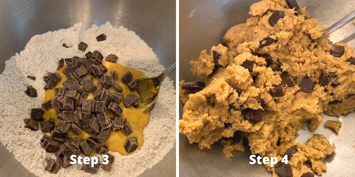 Steps 3 and 4 photos making pumpkin cake bars