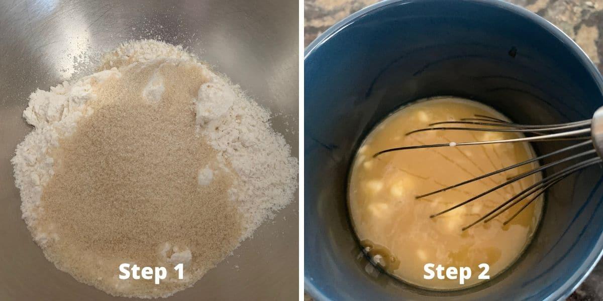 photos of making pumpkin cobbler steps 1 and 2