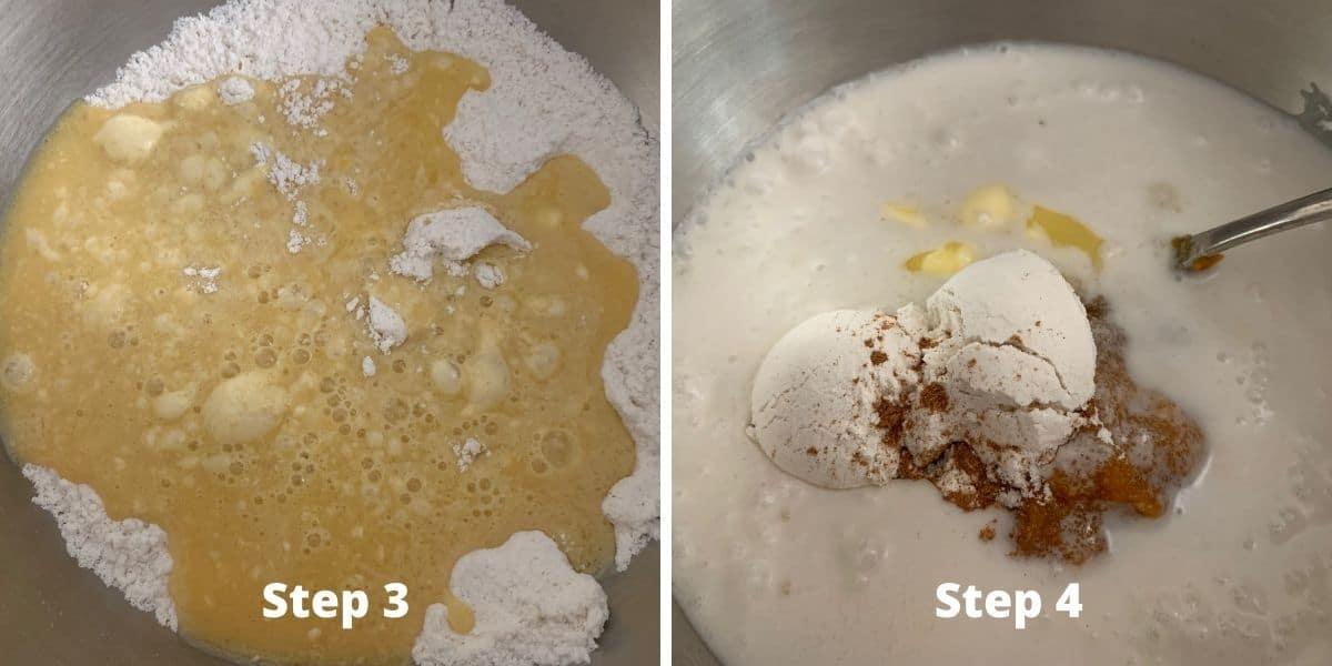 photos of making pumpkin cobbler steps 3 and 4