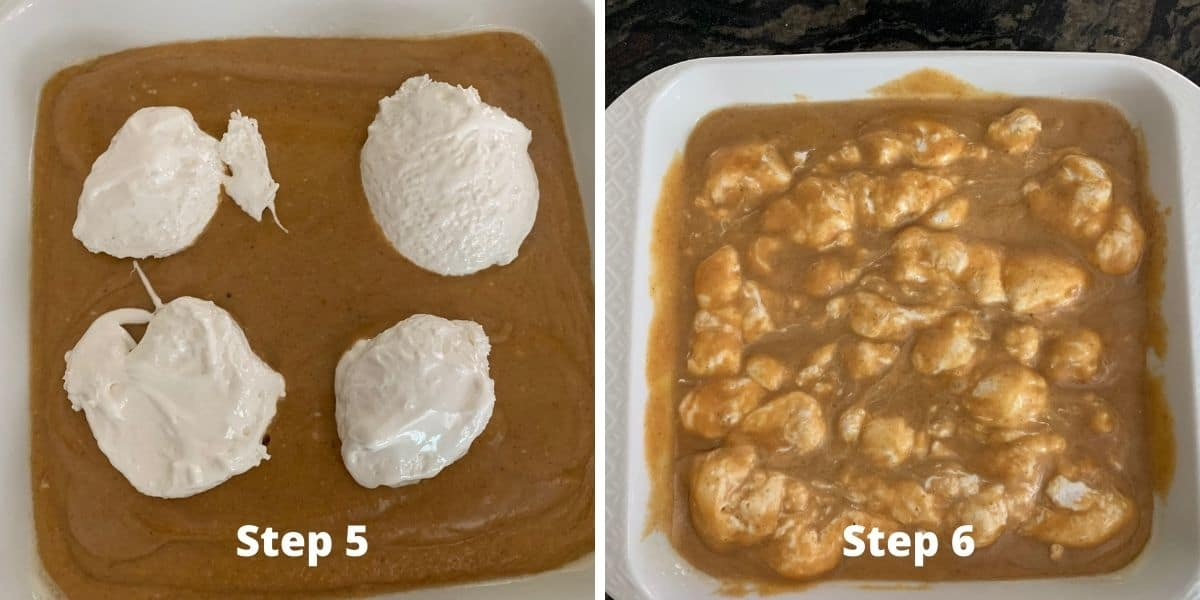 photos of making pumpkin cobbler steps 5 and 6