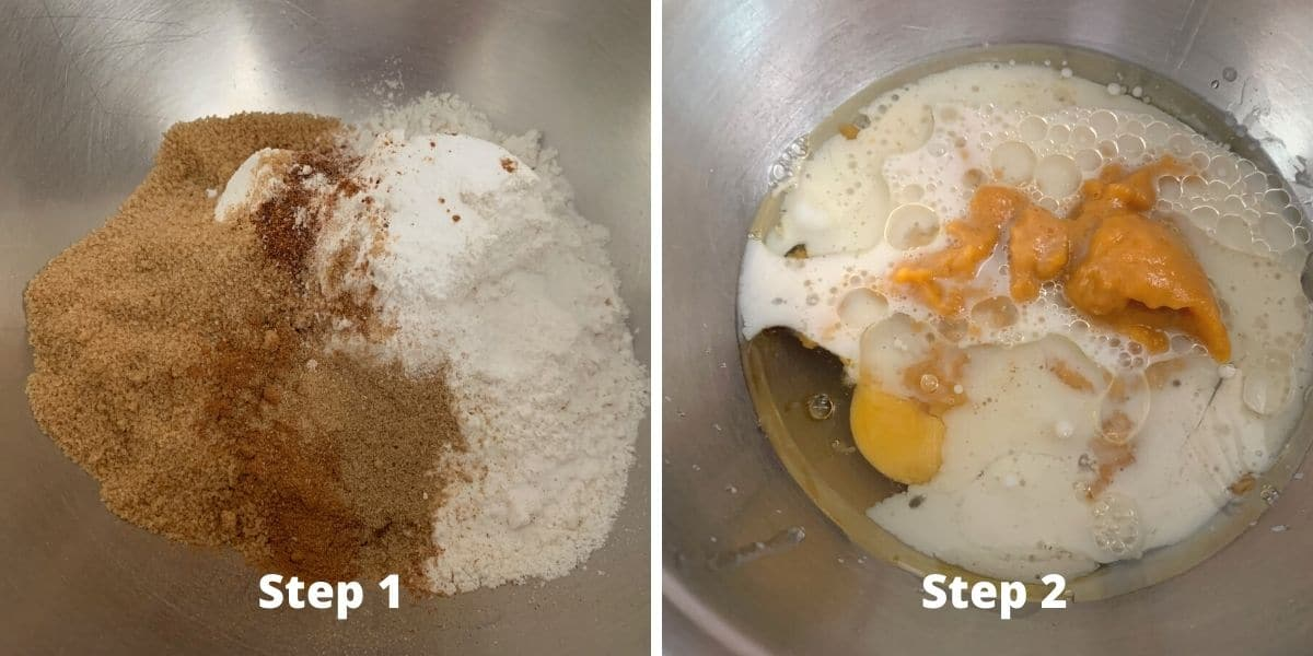 photos of making pumpkin cupcakes steps 1 and 2