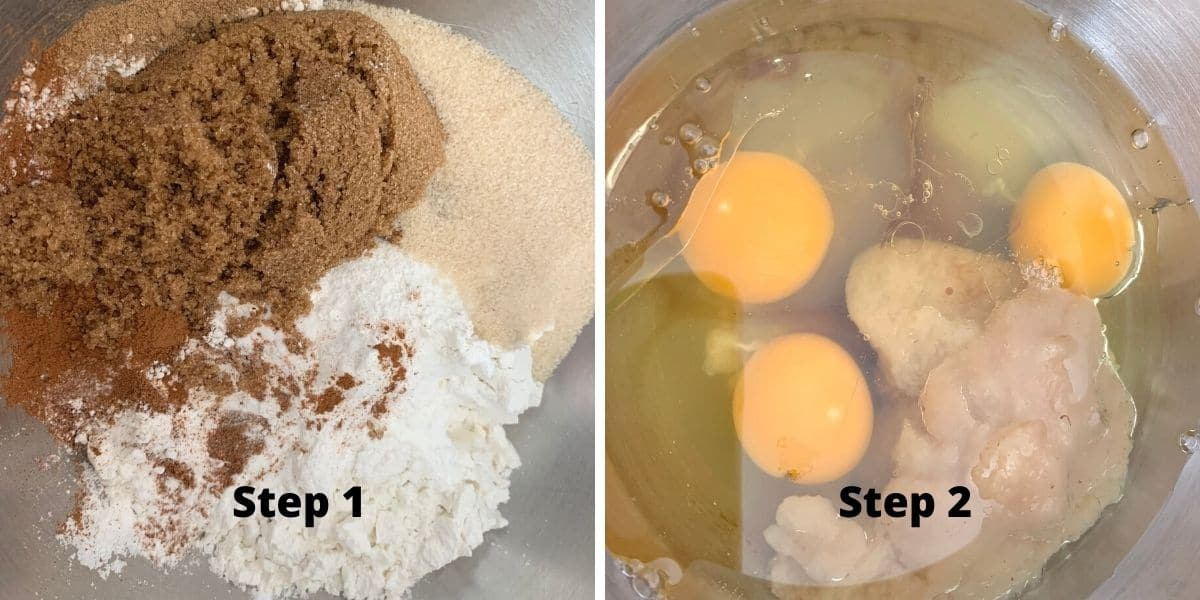 photos of steps 1 and 2 of making spice cake