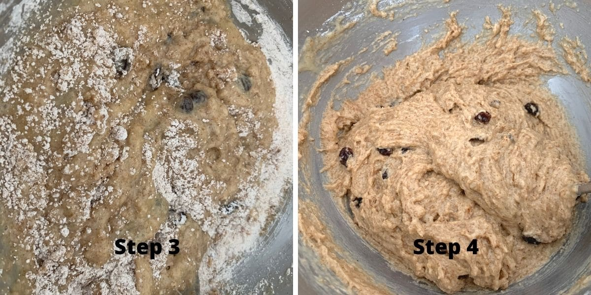 photos of steps 3 and 4 making spice cake