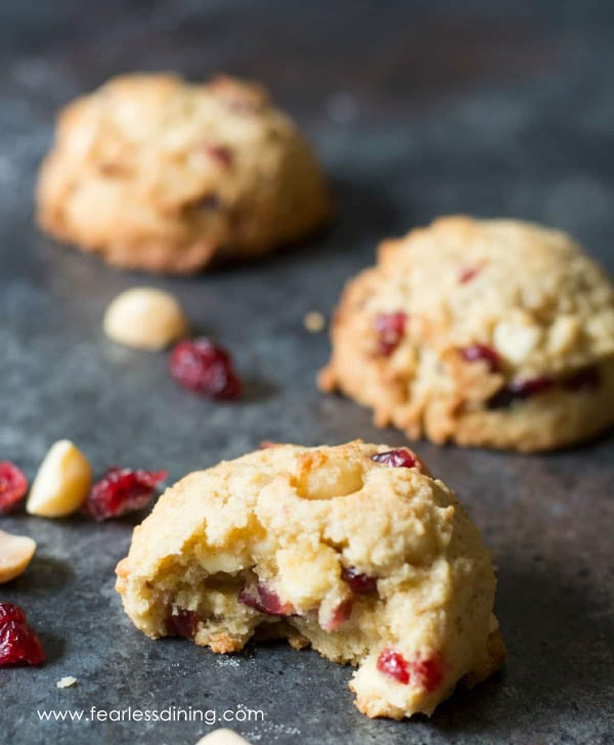 gluten free cranberry cookies on a platter