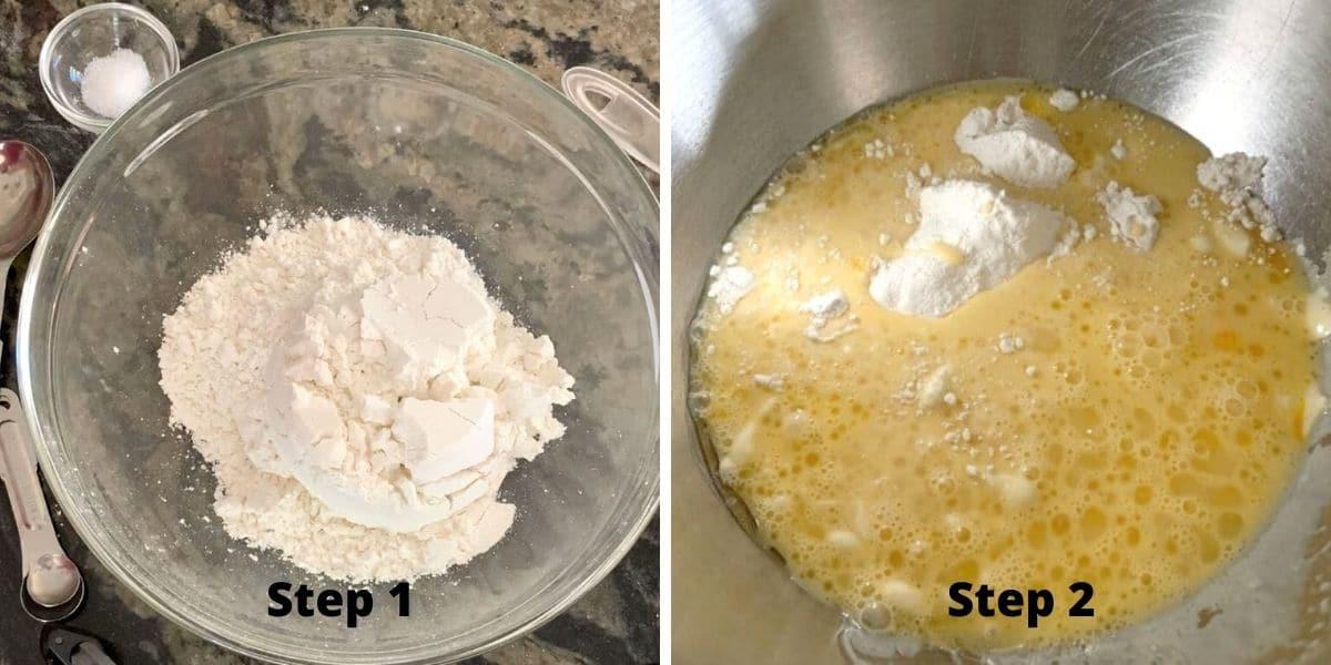 photos of making pumpkin cinnamon rolls steps 1 and 2