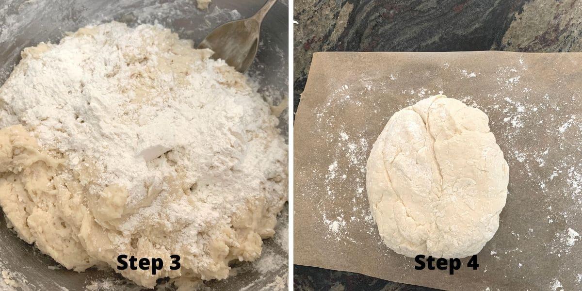 photos of making pumpkin cinnamon rolls steps 3 and 4