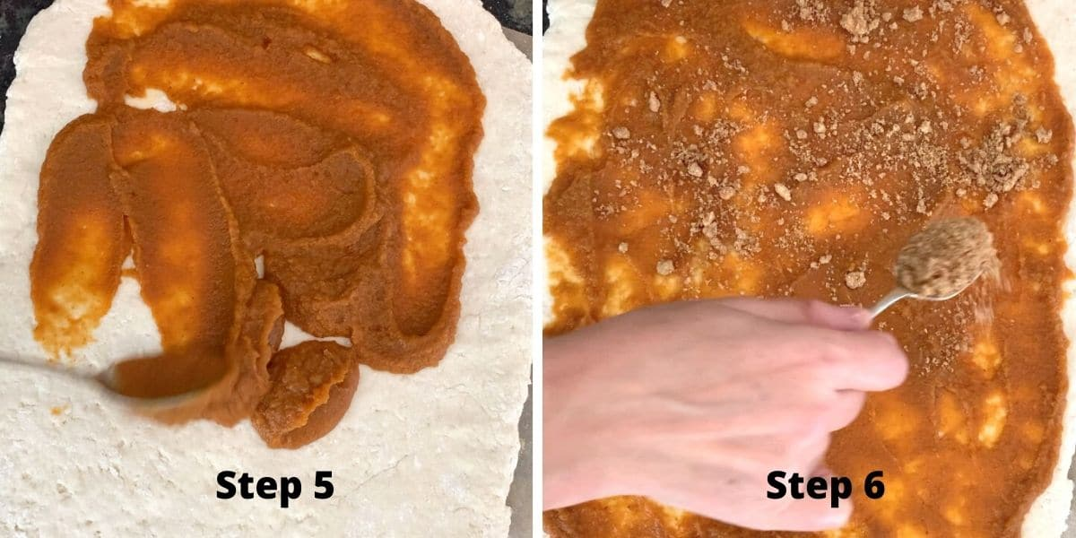 photos of making pumpkin cinnamon rolls steps 5 and 6