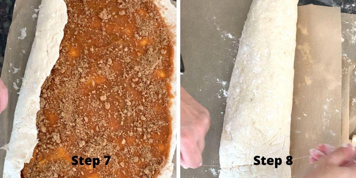 photos of making pumpkin cinnamon rolls steps 7 and 8