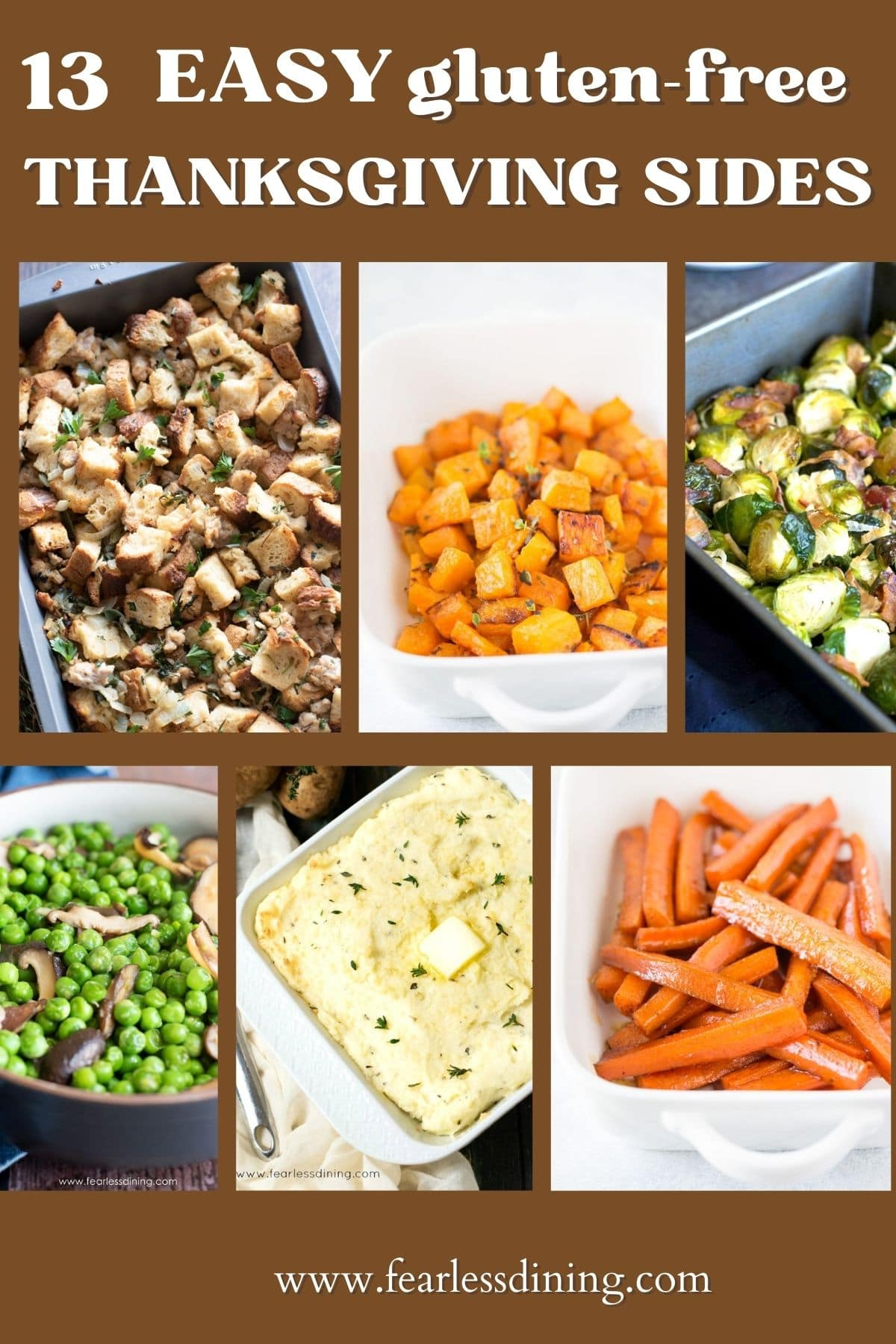 a collage of thanksgiving side dish photos